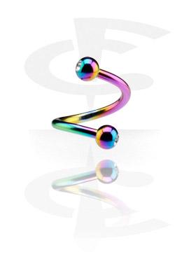 Espiral anodizada de 1.2 mm com duas bolas pedra de cristal