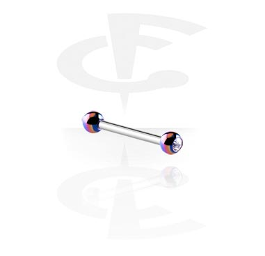 Barbell with Anodized Crystal Balls