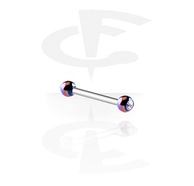 Barres, Barbell avec boules anodisées ornées d'une pierre en cristal, Acier chirurgical 316L