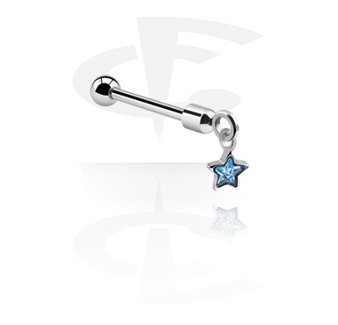 Barbells, Barbell with star pendant, Surgical Steel 316L
