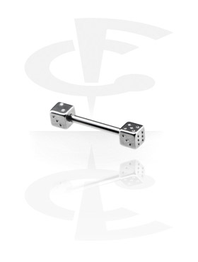 Šipkice, Barbell with Dice, Surgical Steel 316L