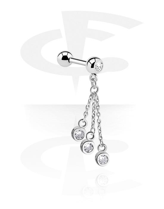 Barbells, Jeweled Barbell with Charm, Surgical Steel 316L, Plated Brass