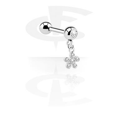 Šipkice, Jeweled Micro Barbell with Charm, Surgical Steel 316L