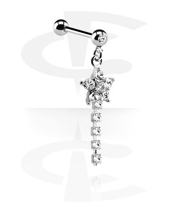 Barbells, Jeweled Barbell with Charm, Chirurgisch staal 316L, Belegde messing