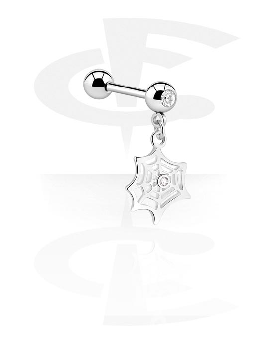 Barbells, Jeweled Barbell with Charm with spiderweb charm, Surgical Steel 316L, Plated Brass