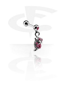 Jeweled Micro Barbell met Charm