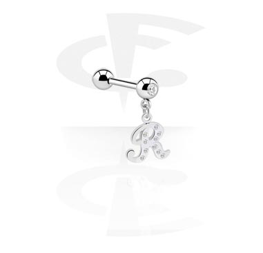 Sztangi, Jewelled Barbell with Charm, Surgical Steel 316L