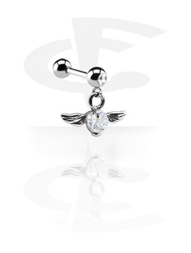 Barbellit, Jeweled Micro Barbell with Charm, Surgical Steel 316L