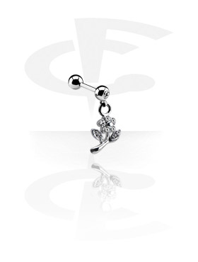 Sztangi, Jeweled Micro Barbell with Charm, Surgical Steel 316L