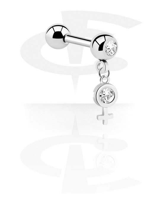 Činky, Jeweled Barbell with Charm, Chirurgická ocel 316L, Pokovená mosaz