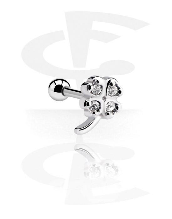 Helix / Tragus, Tragus-Piercing mit Kleeblatt-Design, Chirurgenstahl 316L