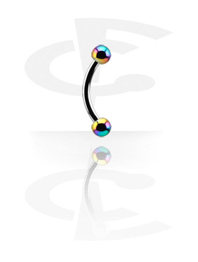 Curved Barbells, Curved Barbell with Anodized Threaded Balls, Surgical Steel 316L