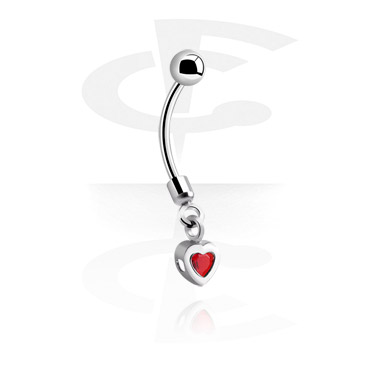 Curved Barbells, Banana with heart pendant, Surgical Steel 316L