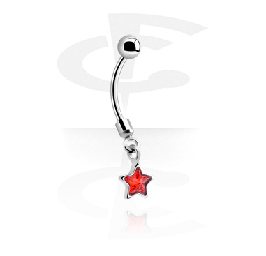 Curved Barbells, Banana with star pendant, Surgical Steel 316L