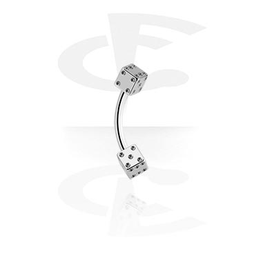 Curved Barbells, Micro Banana with Two Sided Dice, Surgical Steel 316L