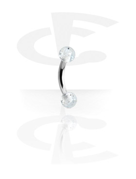 Curved Barbells, Curved Barbell with Threaded Glitter Balls, Surgical Steel 316L, Acryl