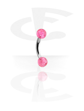 Curved Barbell with Threaded Glitter Balls