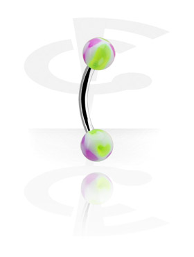 Curved Barbells, Micro Banana with Heart Balls, Surgical Steel 316L, Acryl