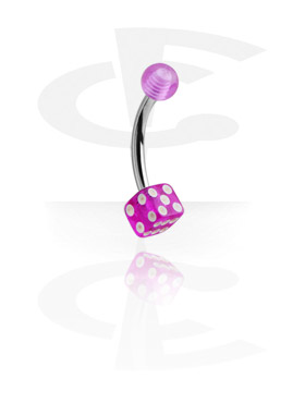 Curved Barbells, Micro Banana with Dice, Surgical Steel 316L, Acryl