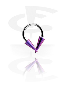 Okrugle šipkice, Micro Circular Barbell with Anodised Long Cones, Surgical Steel 316L