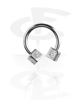 Circular Barbells, Micro Circular Barbell with Dice, Surgical Steel 316L