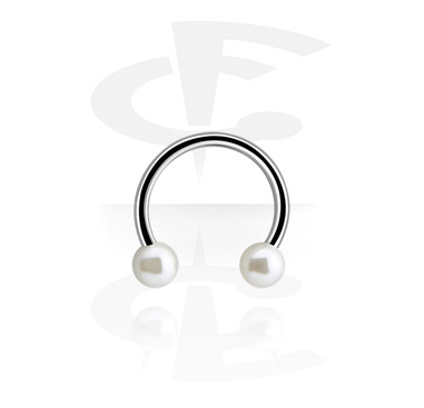 Micro Circular Barbell with Synthetic Pearls