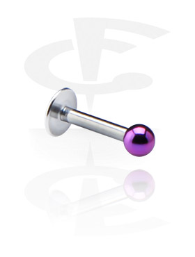 Labrets, Labret with Anodized Threaded Ball, Surgical Steel 316L