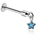 Labrets, Labret with star pendant, Surgical Steel 316L