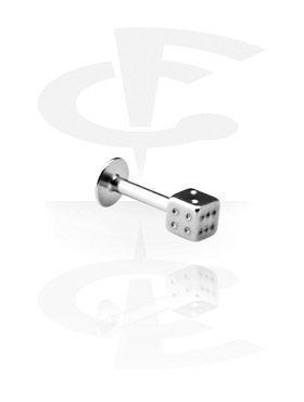 Labrety, Micro Labret with Dice, Surgical Steel 316L