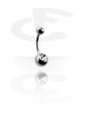 Curved Barbells, Double Jeweled Micro Banana, Surgical Steel 316L