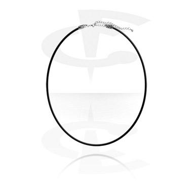 Gummi-Halsband mit Stahl-Verschluß und Kette