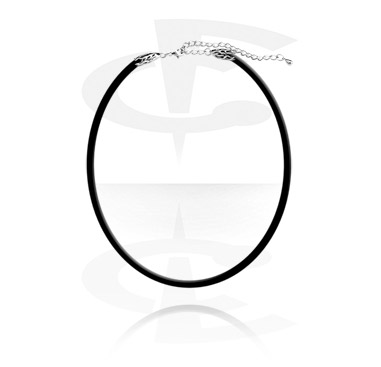 Rubber Necklace with Steel Cast Lock and Extension Chain