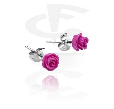 Studs d'oreilles avec rose