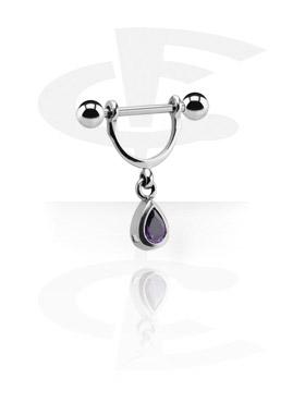 Piercings Téton, Nipple Stirrup avec Charm, Acier chirurgical 316L