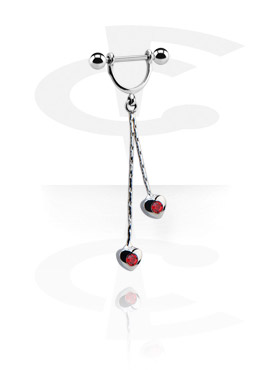 Pezón Piercings, Nipple Stirrup con Charm, Acero quirúrgico 316L