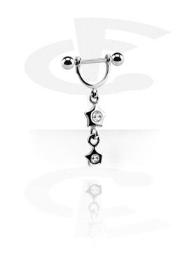 Biżuteria do piercingu sutków, Nipple Stirrup with Charm, Surgical Steel 316L