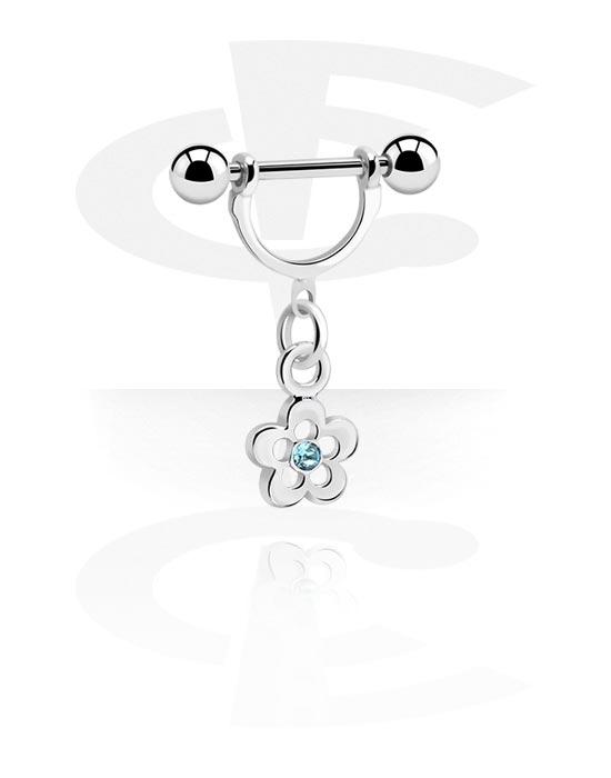 Biżuteria do piercingu sutków, Nipple Shield z charm, Stal chirurgiczna 316L, Powlekany mosiądz