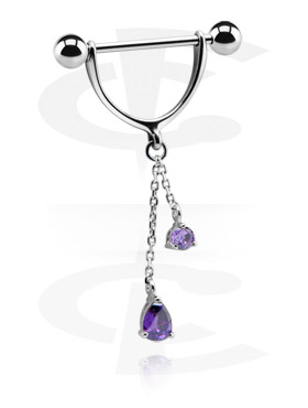 Piercing Al Capezzolo, Nipple Stirrup with Charm, Surgical Steel 316L