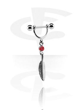 Nipple Piercings, Nipple Stirrup with Charm, Surgical Steel 316L