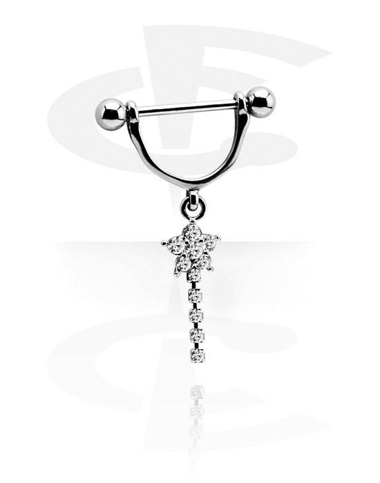 Piercingové šperky do bradavky, Nipple Shield s charm, Chirurgická ocel 316L, Pokovená mosaz