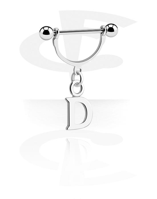 Nipple Piercings, Nipple Shield with charm, Surgical Steel 316L, Plated Brass