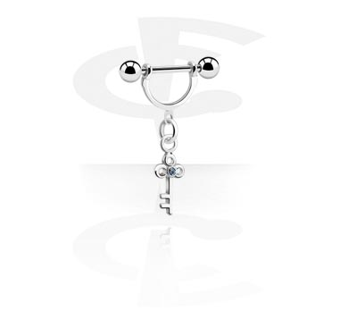 Biżuteria do piercingu sutków, Nipple Stirrup with Charm, Surgical Steel 316L