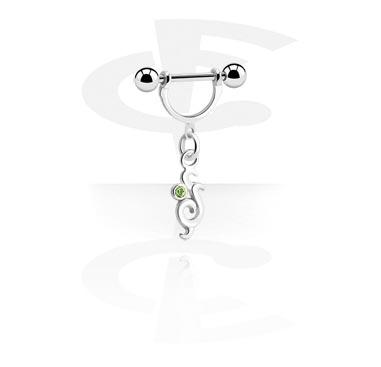 Piercings Téton, Nipple Stirrup avec pendentif, Acier chirurgical 316L