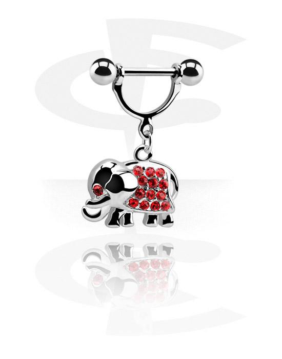 Brustwarzenpiercings, Brustwarzen-Schild mit Anhänger, Chirurgenstahl 316L, Plattiertes Messing