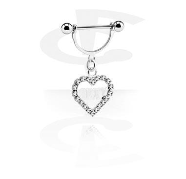 Biżuteria do piercingu sutków, Nipple Shield with Charm, Surgical Steel 316L