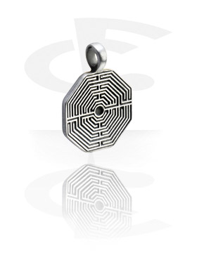 Pendants, Pendant with Labyrinth Design, Pewter