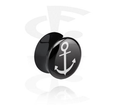 Tuneli & čepovi, Double Flared Plug s Anchor Design, Acrylic