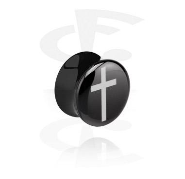 Tunele & plugi, Black Flared Plug, Acrylic