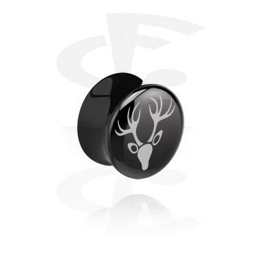 Tunnels & Plugs, Flared plug noir avec tête de cerf, Acrylique