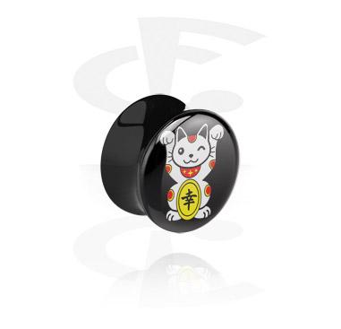 Tunely & plugy, Černý plug rozšířený na konci, Acrylic